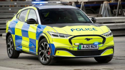 Ford Mustang Mach-E looks good done up as a British police car